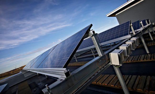 Aurinkopaneeleita. Kuva: Rhinoceros Oy,
