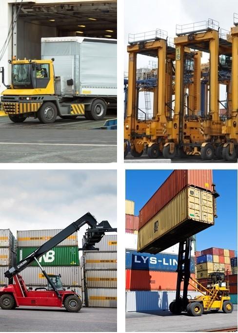 """Vuosaaren satama-alueella toimii noin 200 työkonetta. Yleisiä konetyyppejä ovat terminaalitraktori eli """"vetomestari"""" (vas. ylhäällä), satamalukki (oik. ylhäällä), konttikurottaja (vas. alhaalla) sekä konttipinoaja eli """"pinkkari"""" (oik. alhaalla)."""