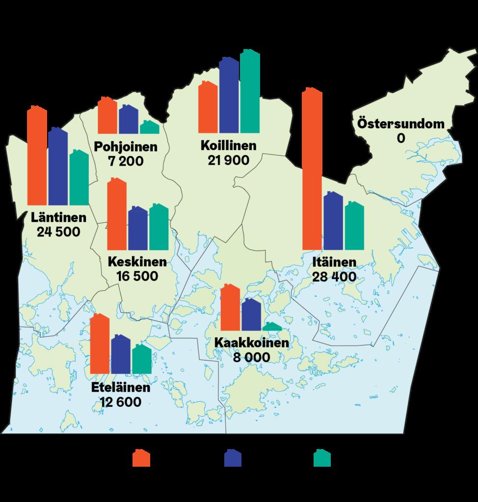 Graafi: 1960-1980 -lukujen kerrostalojen sijainti kartalla.